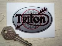 "Triton Arrow Style Oval Sticker. 3""."