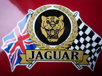 "Jaguar Colour Flag & Scroll Sticker. 3.75""."