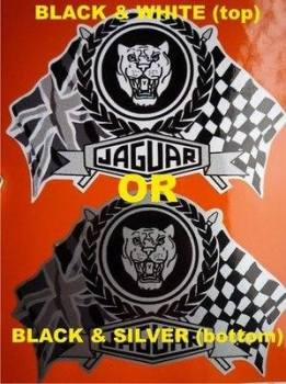 "Jaguar Flag & Scroll Sticker. 3.75""."