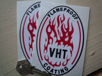 "VHT Flameproof Coating Oval Stickers. 5"" Pair."