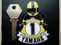 Yamaha Full Face Helmet Yellow Cafe Racer Sticker. 3