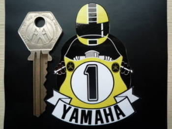 "Yamaha Full Face Helmet Yellow Cafe Racer Sticker. 3""."