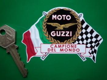 """Moto Guzzi Campione Del Mondo Flag & Scroll Style Sticker. 3.75""""."""