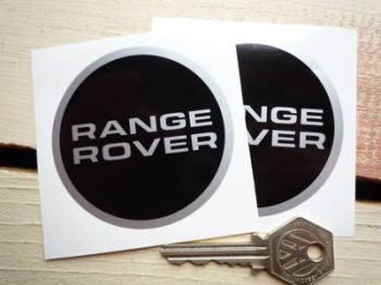 """Range Rover Black & Silver Round Stickers. 2.75""""."""