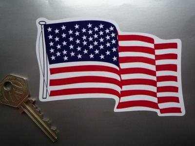 "USA Stars & Stripes Lanyard & Pole Wavy Flag Sticker. 4.5""."