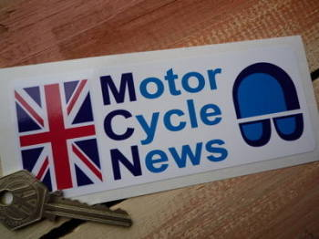 "Motor Cycle News Union Jack Oblong Sticker. 5.75""."