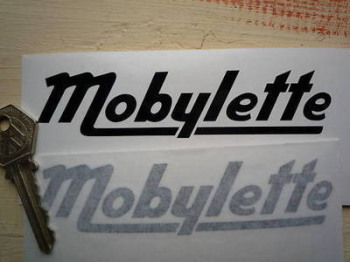 "Mobylette Cut Text Moped Stickers. 5"" or 8"" Pair."