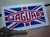 "Jaguar Union Jack Oblong Sticker. 4""."