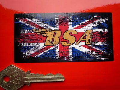 "BSA Union Jack Oblong Fade To Black Sticker. 4""."