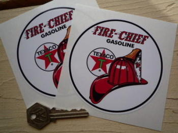 "Texaco Fire Chief Gasoline Circular Stickers. 4"" Pair."