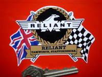"Reliant Flag & Scroll Sticker. 3.75""."