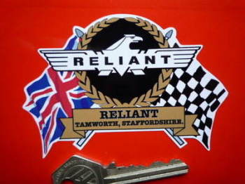 "Reliant Flag & Scroll Sticker. 3.75""."
