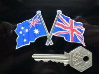 Crossed Australian & Union Jack Flag Sticker. 3