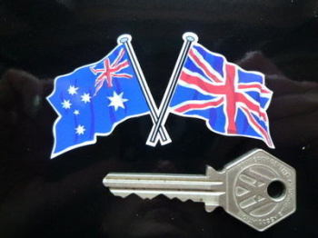 "Crossed Australian & Union Jack Flag Sticker. 3""."
