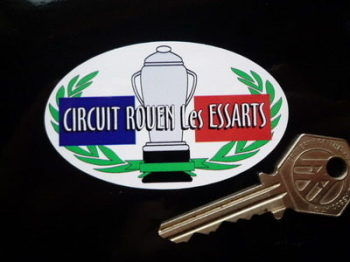 "Circuit Rouen Les Essarts Oval Sticker. 3""."