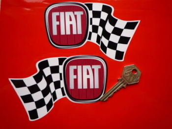 """Fiat Handed Wavy Chequered Flag Stickers. 5"""" Pair."""