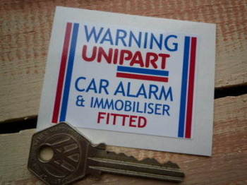 "Unipart Car Alarm & Immobiliser Warning Sticker. 2.25""."