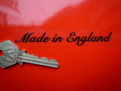 "Made in England Stickers. Black & Clear. Set of 4. 4""."