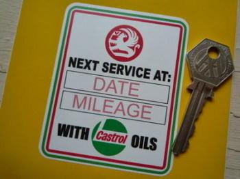 "Vauxhall & Castrol Oils Service Sticker. 3.25""."