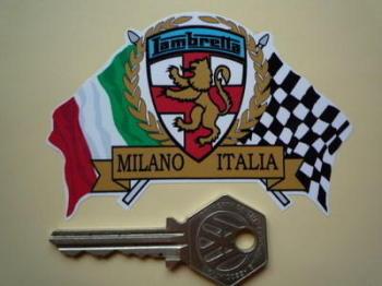 """Lambretta Flag & Scroll Sticker. 3.75""""."""