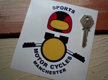 "Sports Motorcycles Manchester Shaped Sticker. 3"" or 5""."
