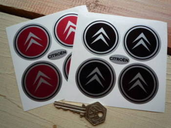 Citroen Plain Chevron Wheel Centre Style Stickers. Set of 4. 50mm.