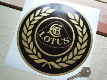 """Lotus Black & Gold Garland Roundel Sticker. 8""""."""