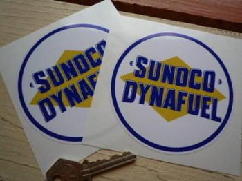 """Sunoco Dynafuel Circular Stickers. 4"""" Pair."""