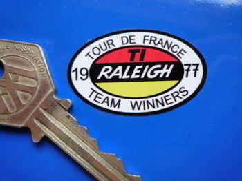 """Raleigh Tour De France 1977 Team Winners Sticker. 1.5""""."""