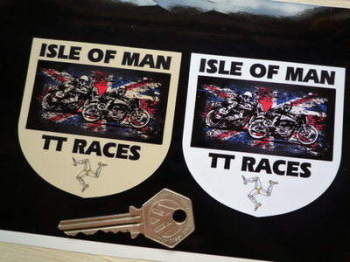 "Isle Of Man TT Races Distressed Union Jack Shield Stickers. 3""."