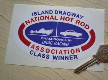 "NHRA Island Dragway Class Winner Sticker. 5""."
