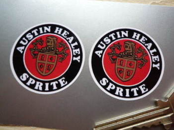 Austin Healey Sprite Crest Circular Stickers. 40mm or 42mm Pair.