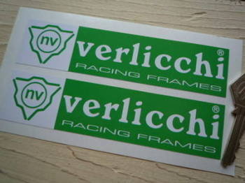 "Verlicchi Racing Frames Green & White Stickers. 6"" Pair."