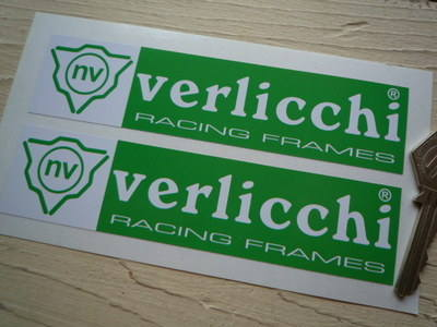 """Verlicchi Racing Frames Green & White Stickers. 6"""" Pair."""