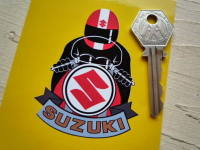 Suzuki Full Face Helmet Red Cafe Racer Sticker. 3