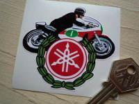 """Yamaha GP Racer & Garland Sticker. 2.75""""."""