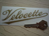 Velocette Cut Vinyl Scroll Text Gold Stickers. 5