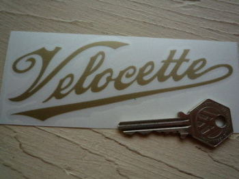 "Velocette Cut Vinyl Scroll Text Gold Stickers. 5"" Pair."