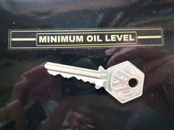 "Minimum Oil Level Outlined Indicator Stickers. 3.5"" Pair."