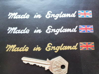 "Made in England Sticker. Cut Vinyl & Union Jack. 5""."