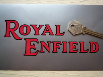 "Royal Enfield Black & Red Cut Vinyl Text Stickers. 6.5"" Pair."