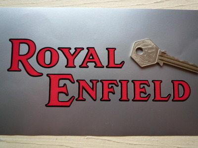 Royal Enfield Black & Red Cut Vinyl Text Stickers. 6.5