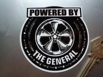 "Powered By the General GM General Motors Wheel Sticker. 3.5""."