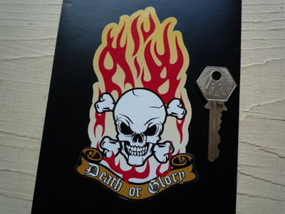 "Death or Glory Flaming Skull & Crossbones Sticker. 3""."