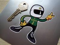 "Lotus Driver 2 Fingered Salute Sticker. 3.5""."