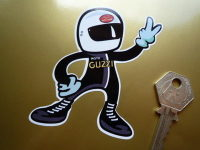 "Moto Guzzi Rider Full Face Helmet 2 Fingered Salute Sticker. 3.5""."