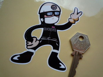 "Rockers 2 Fingered Rider Salute Sticker. 3.5""."