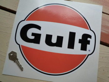 "Gulf Black & Orange Logo Sticker. 10""."