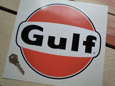 """Gulf Black & Orange Logo Sticker. 10""""."""