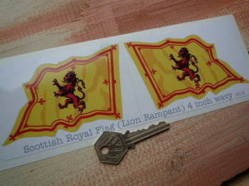 "Scottish Royal Standard Wavy Flag Stickers. 2"" or 4"" Pair."